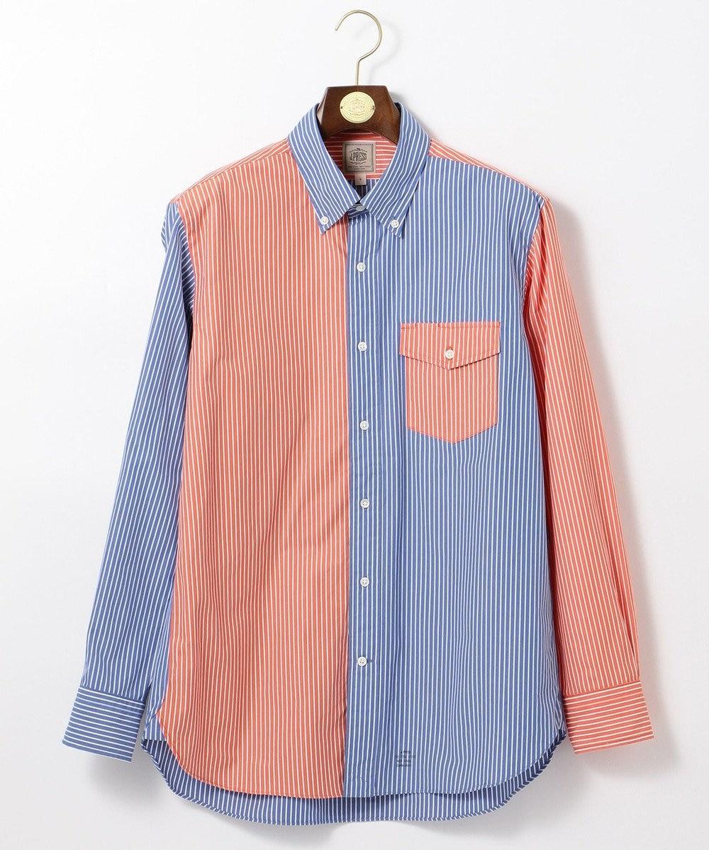 J.PRESS MEN ポプリンストライプ クレイジーシャツ / ボタンダウン ブルー系9