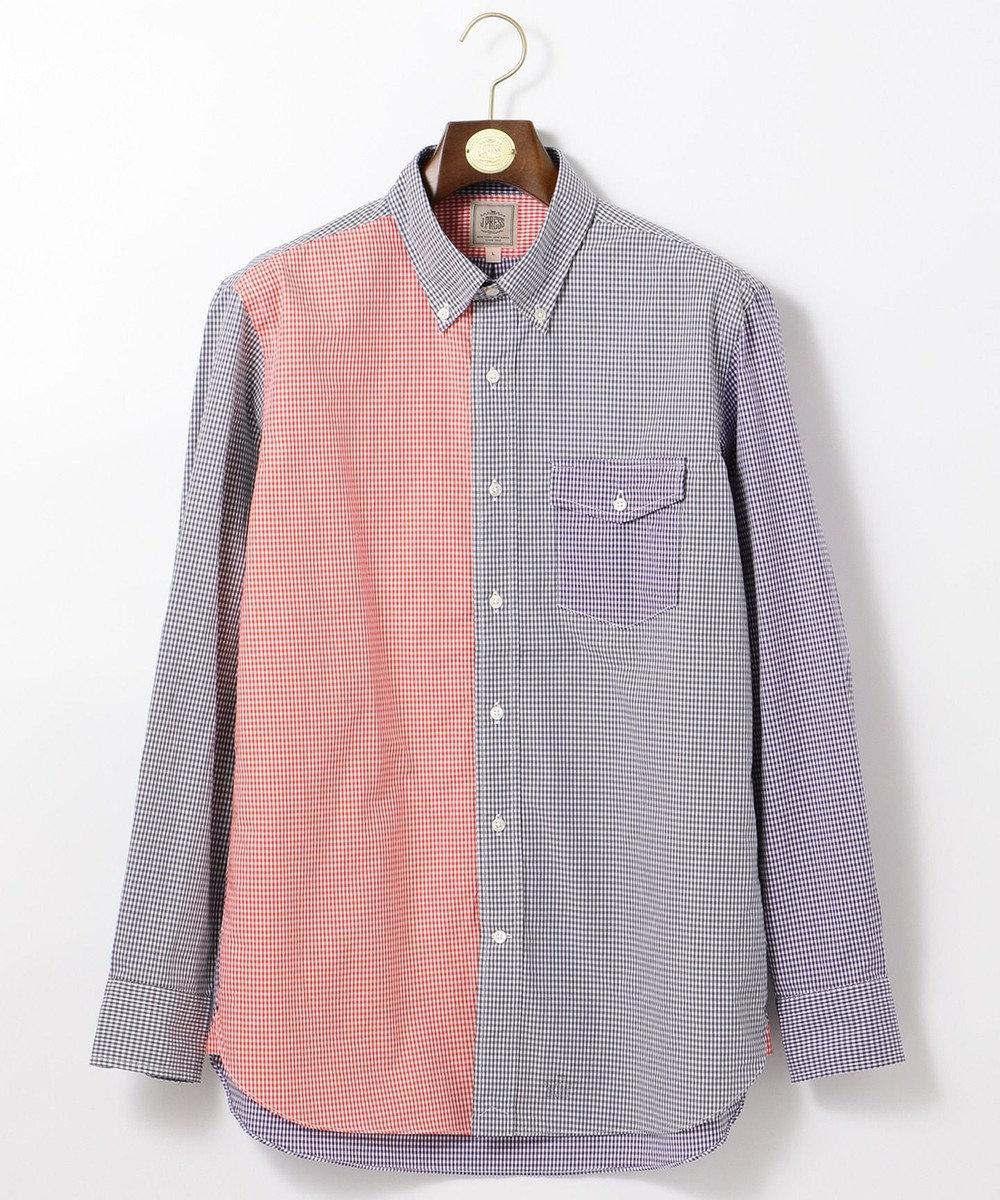 J.PRESS MEN ポプリンミニギンガム クレイジーシャツ / ボタンダウン グレー系9