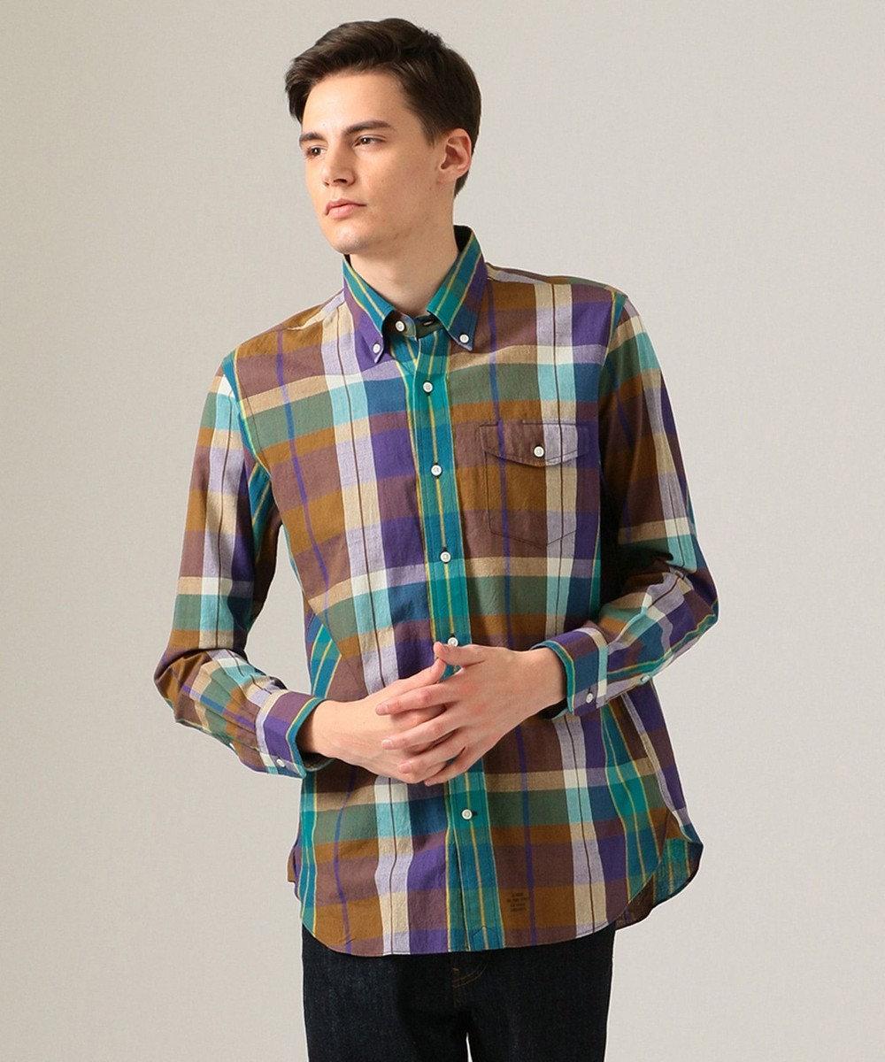 J.PRESS MEN インドマドラスチェック ボタンダウン シャツ グリーン系4