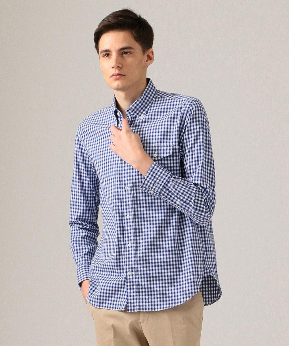 J.PRESS MEN ロイヤルOXチェック ボタンダウン シャツ ブルー系3