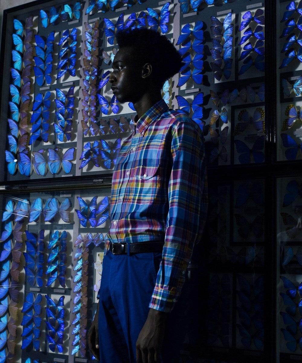 J.PRESS MEN ロイヤルOXマルチチェック ボタンダウン シャツ ブルー系9