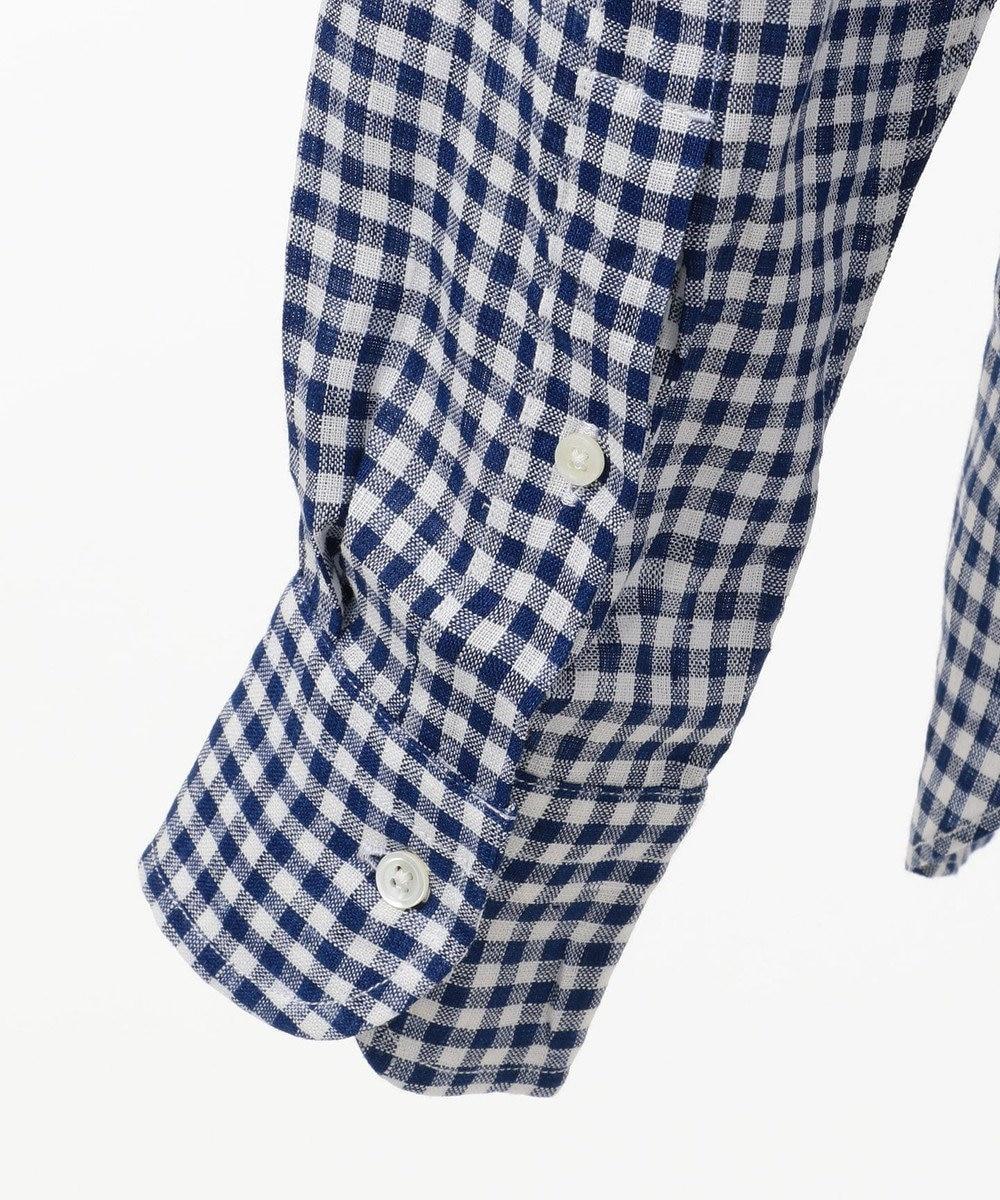 J.PRESS MEN リネンギンガムチェック ボタンダウン シャツ ブルー系3
