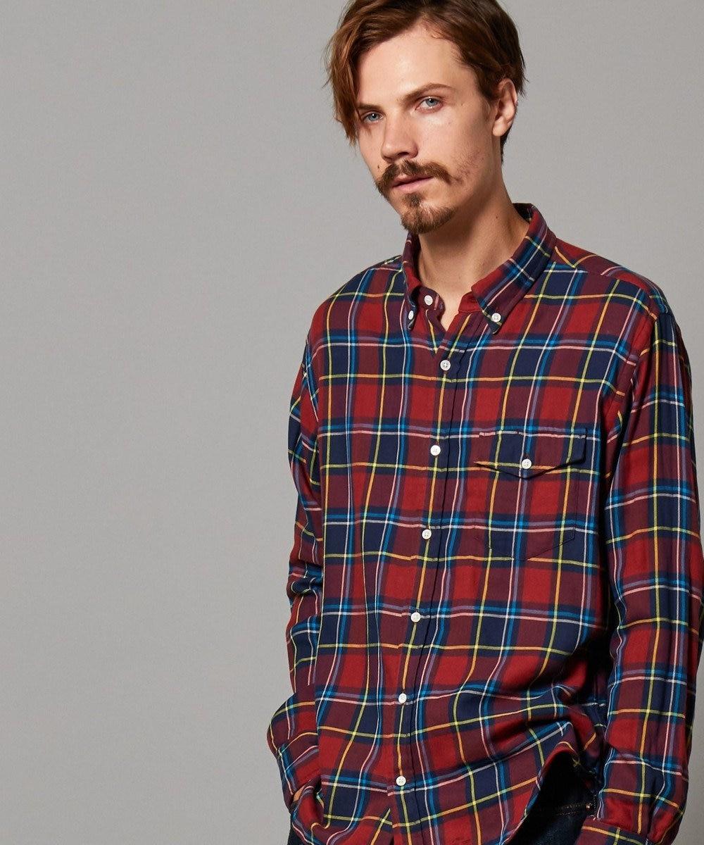 J.PRESS MEN ダブルガーゼマルチチェック パチフラシャツ / ボタンダウン ブラウン系3