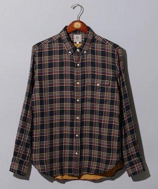 J.PRESS MEN ダブルガーゼマルチチェック パチフラシャツ / ボタンダウン ネイビー系3