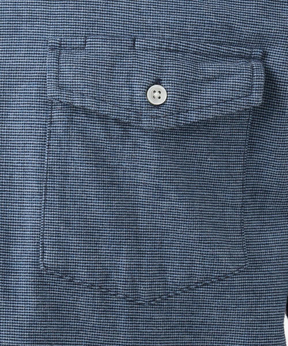 J.PRESS MEN メランジネルピンチェック シャツ ブルー系3