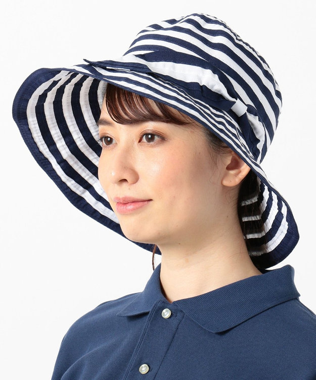 23区GOLF 【WOMEN】ワイヤー入り ボーダー ハット