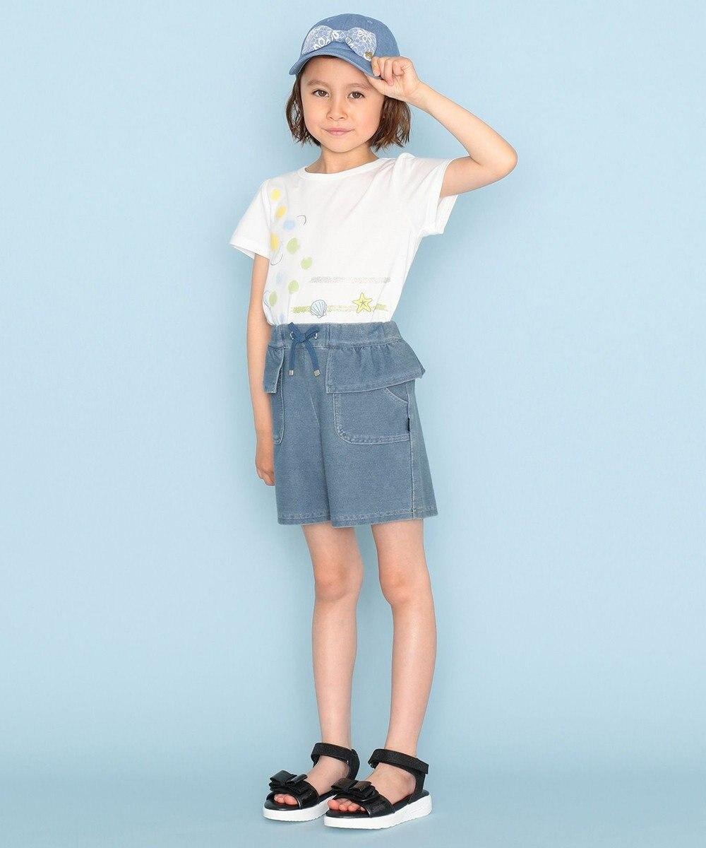 組曲 KIDS 【52-56cm】レースリボンデニム キャップ サックスブルー系