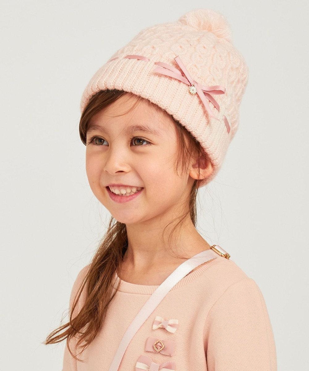 TOCCA BAMBINI ケーブルリボン ニット帽 ローズ系
