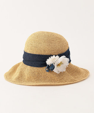 TOCCA COSAGE FLOWER HAT ハット ベージュ系