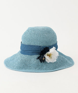 TOCCA COSAGE FLOWER HAT ハット ブルー系