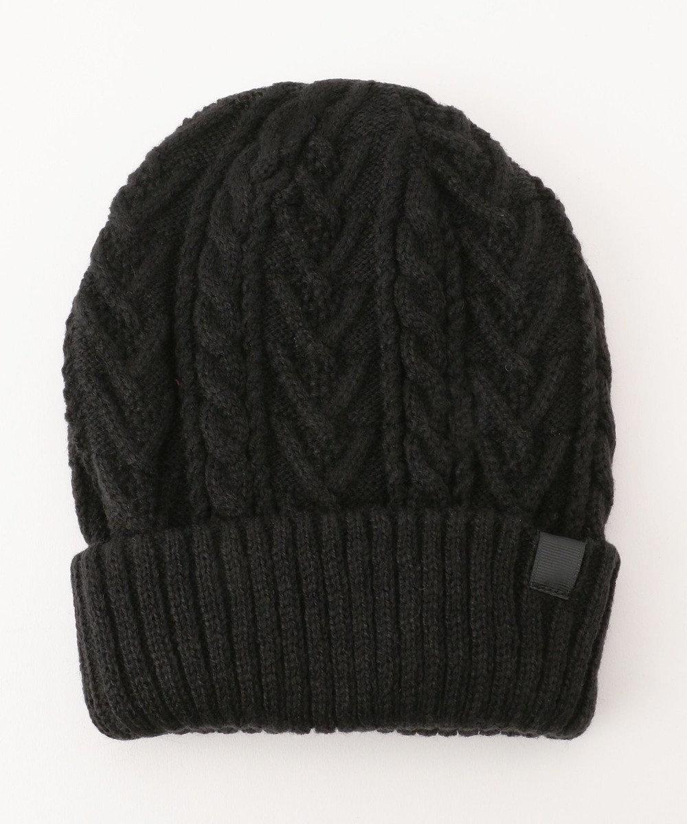 any FAM 【2WAY】リブ編み ニット帽 ブラック系