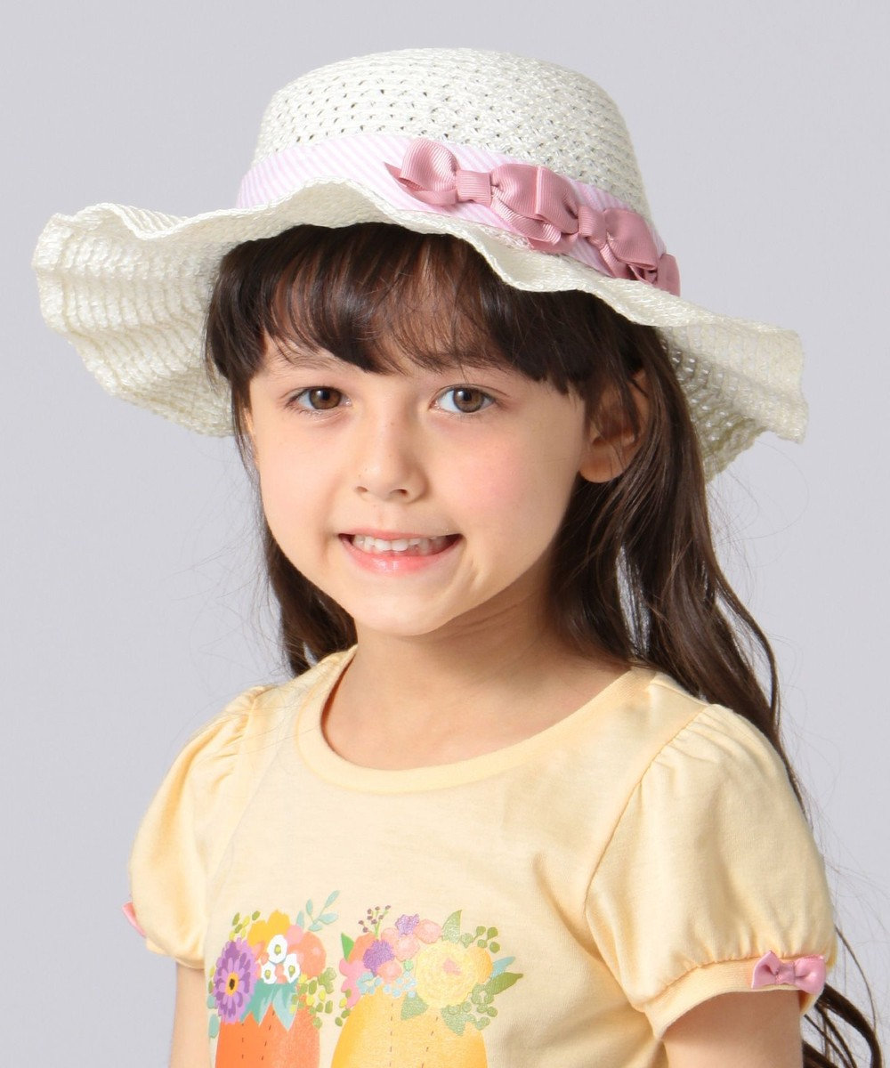 any FAM KIDS 【KIDS雑貨】洗える UVケア ブレード リボン綿 ブレード ハット ピンク系