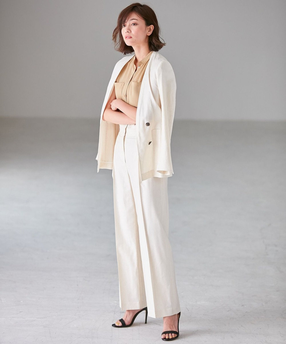 ICB 【洗える】Linen Kersey ジャケット アイボリー系