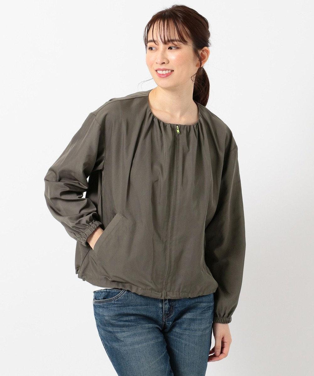 any FAM L 【洗える】ギャザー ブルゾン カーキ系