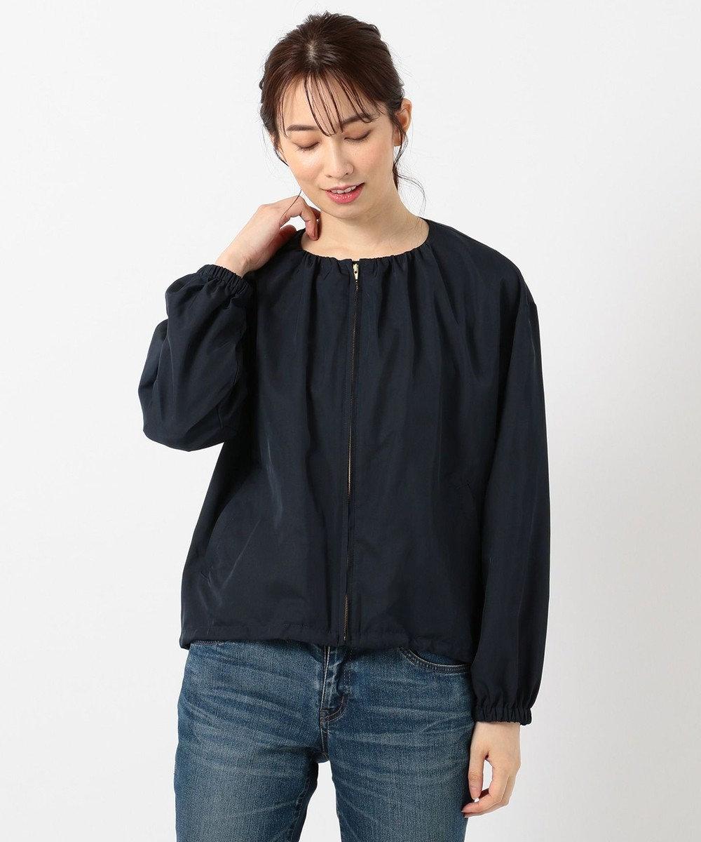 any FAM L 【洗える】ギャザー ブルゾン ネイビー系