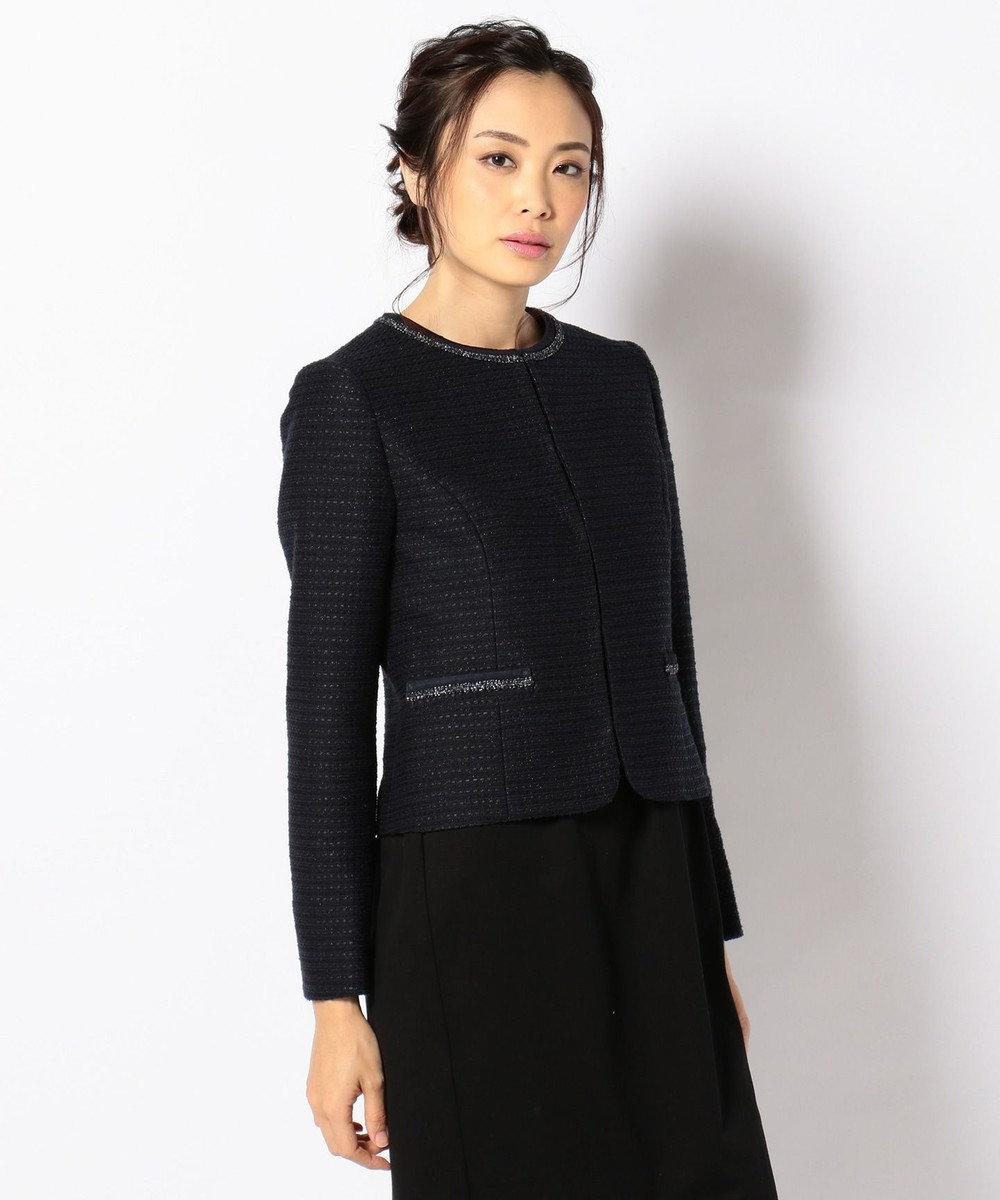 any FAM 【セレモニー】カラミツイード ノーカラージャケット 濃紺系