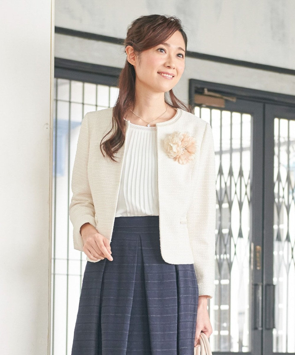 any FAM 【セレモニー】カラミツイード ノーカラージャケット ベージュ系1