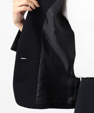 J.PRESS LADIES L 【ニオイ菌抑制】洗えるヴィーナスダブルクロス ノーカラージャケット ネイビー系