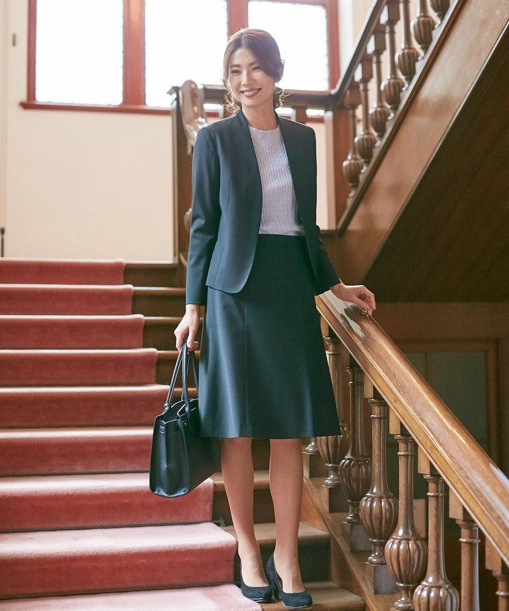 J.PRESS LADIES S 【スーツ】BAHARIYEストライプ ノーカラージャケット ブラック系1