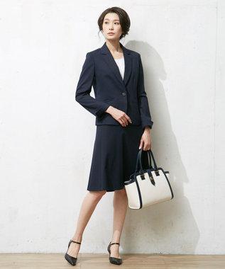 J.PRESS LADIES L 【洗える】60/-リヨセル綿STポンチ テーラードジャケット ネイビー系