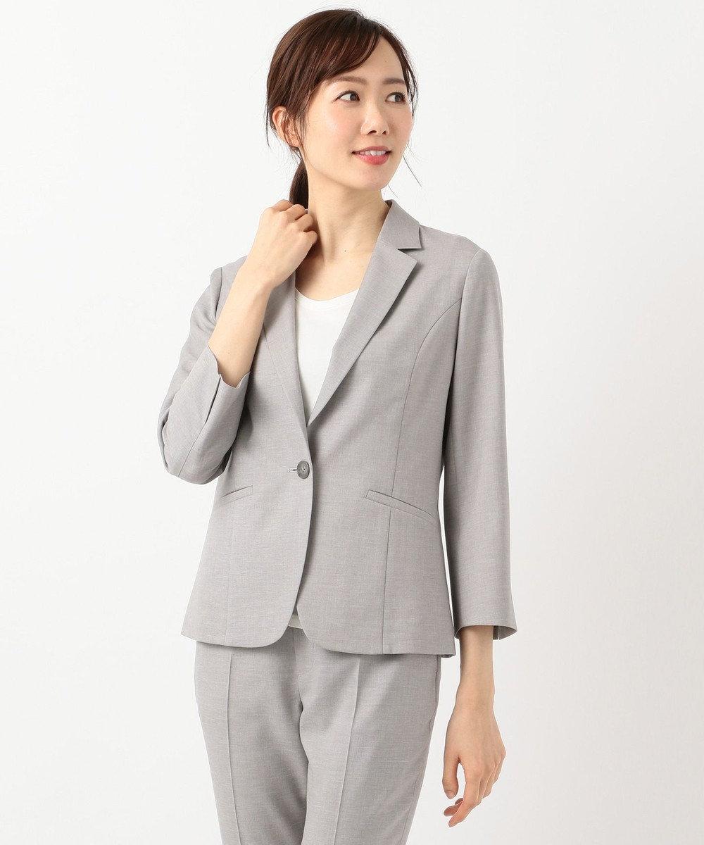 J.PRESS LADIES L 【洗えるスーツ】FLAXASA テーラードジャケット ライトグレー系