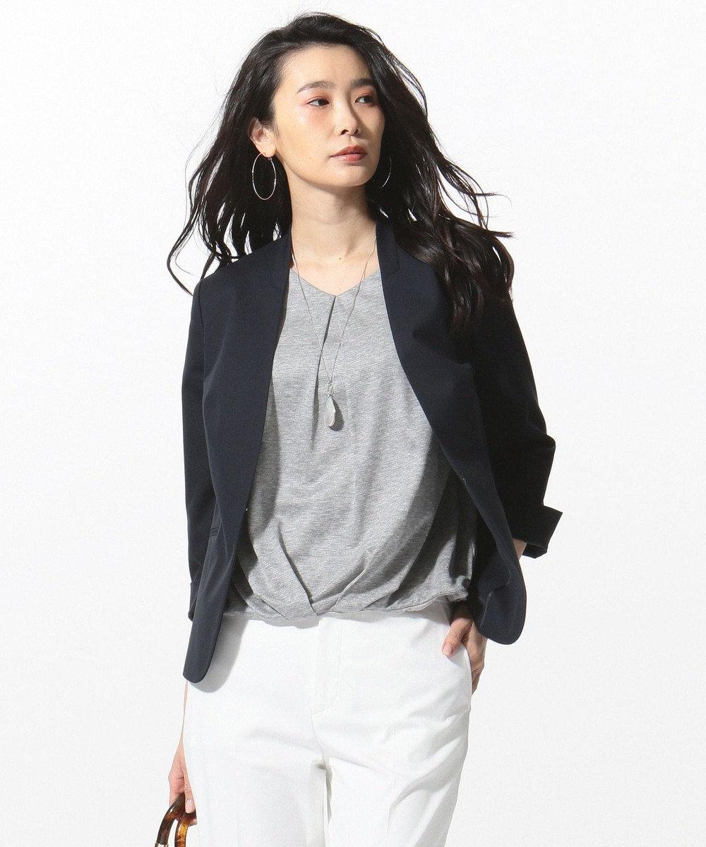 J.PRESS LADIES L 【洗える】コットンFITTYシャーク ノーカラー ジャケット ネイビー系