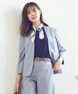 J.PRESS LADIES L 【洗える】コットンFITTYシャーク ノーカラー ジャケット グレー系