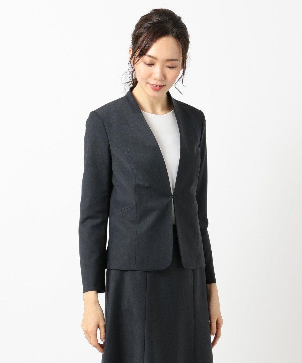 J.PRESS LADIES L 【スーツ対応】BAHARIYEネイビー ノーカラージャケット ネイビー系