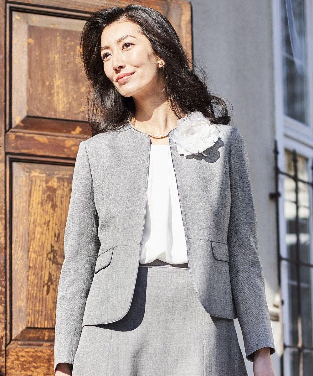 J.PRESS LADIES L 【スーツ対応】シルクレーヨンスーティング ノーカラー ジャケット グレー系