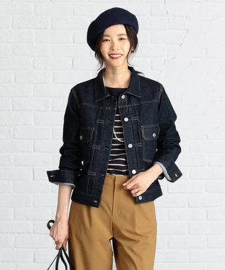 J.PRESS LADIES 【洗える】10オンスストレッチ デニムジャケット ネイビー系