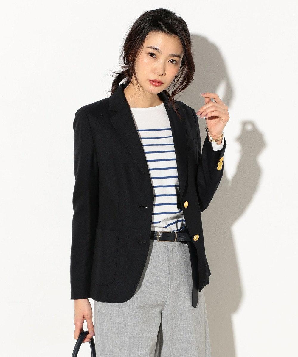 J.PRESS LADIES S 【定番人気】ウールシルクオックス テーラードジャケット ネイビー系