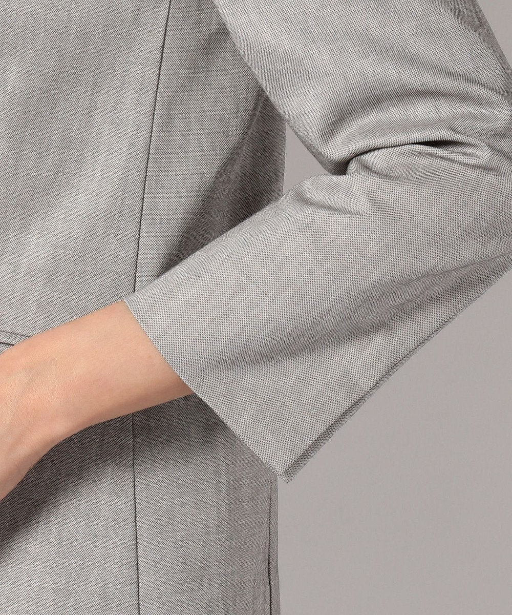J.PRESS LADIES L 【スーツ対応】コットンリネンコンパクトピンヘッド ノーカラージャケット グレー系
