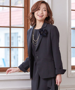 J.PRESS LADIES 【セットアップ対応】ヴィーナスダブルクロス テーラードジャケット ブラック系