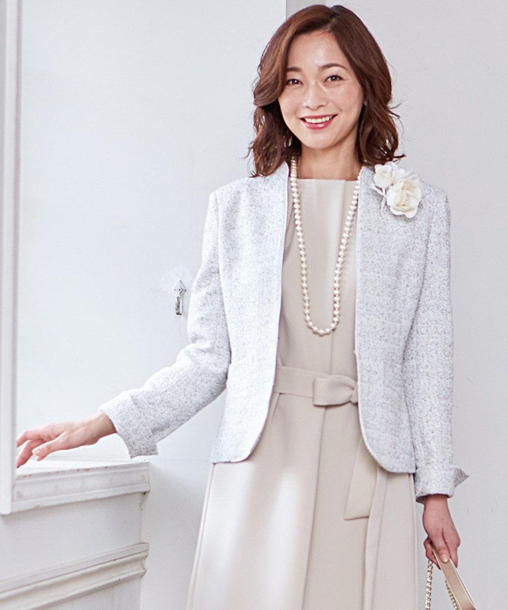 J.PRESS LADIES L 【セットアップ対応】ファンシーツイード スタンドカラージャケット ホワイト系