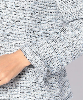 J.PRESS LADIES L 【セットアップ対応】ファンシーツイード スタンドカラージャケット サックスブルー系