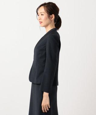 J.PRESS LADIES L 【スーツ対応】BAHARIYE1 ノーカラージャケット ネイビー系