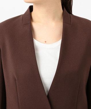 JOSEPH グレインドフルー ノーカラージャケット ブラウン系