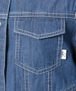 組曲 KIDS 【150~160cm】花柄刺繍 デニムジャケット ブルー系