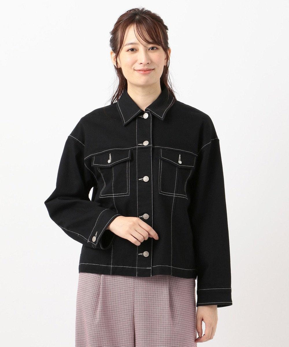 Feroux 【洗える】オータムストレッチデニム ジャケット ブラック系