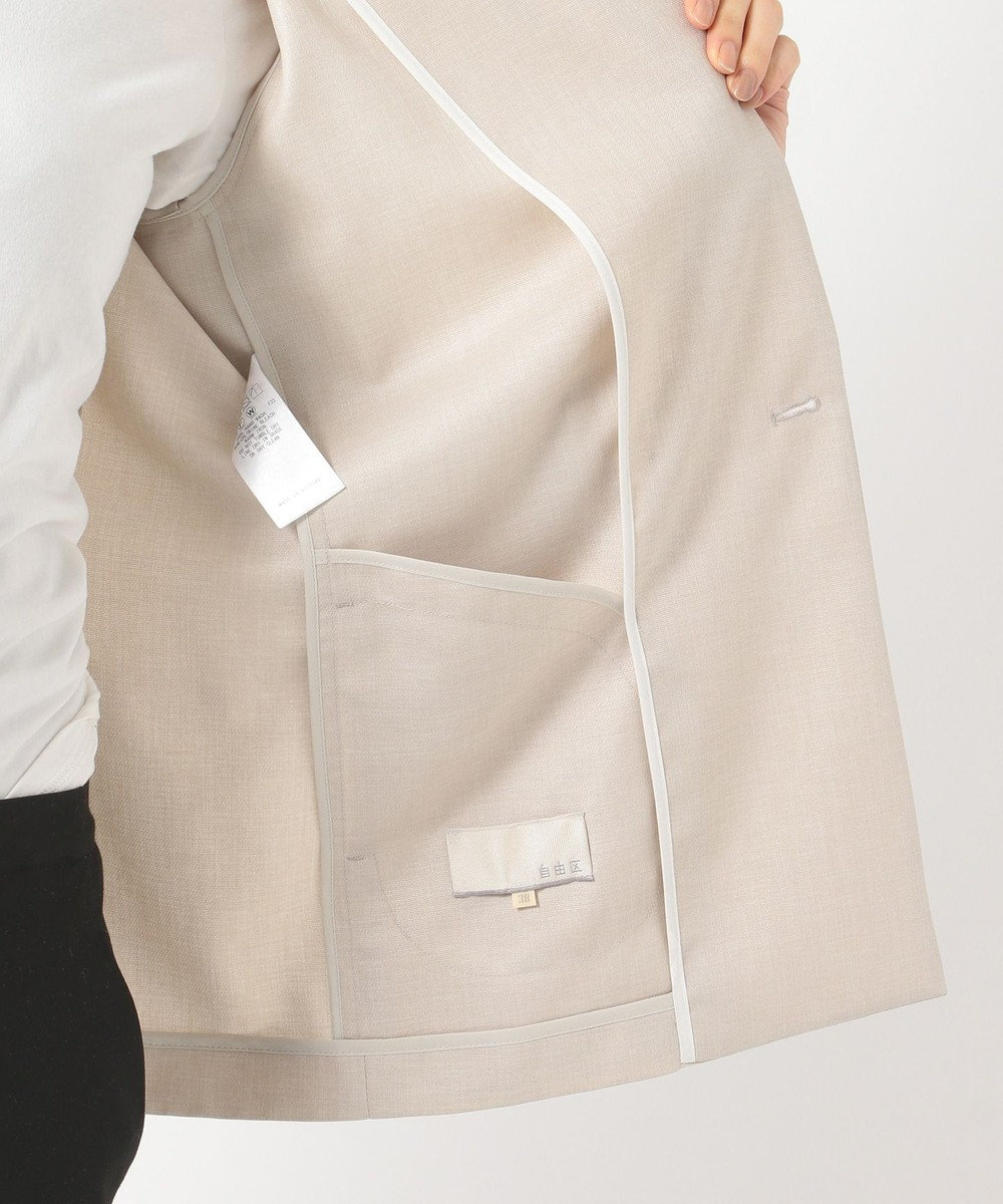 自由区 リネンライクオットマン W前テーラードジャケット(検索番号E29) サンドベージュ