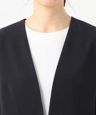 自由区 L 【洗える】PREP TWILL ノーカラージャケット ネイビー系