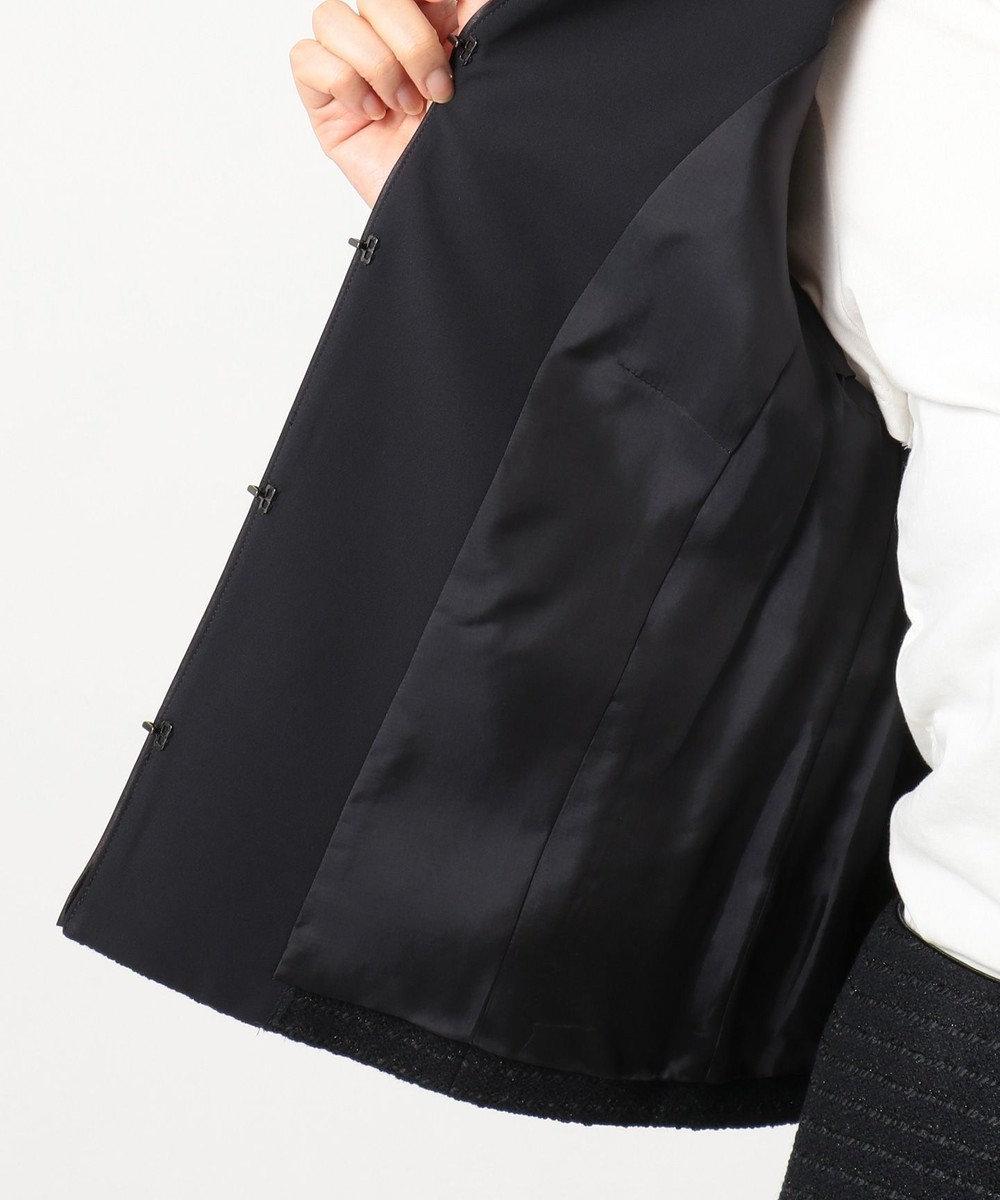 自由区 L 【マガジン掲載】カラミツイード ノーカラージャケット(検索番号A22) ミッドナイト