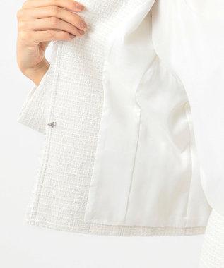 23区 【セットアップ対応】ブライトシャインツィード ノーカラージャケット ホワイト系