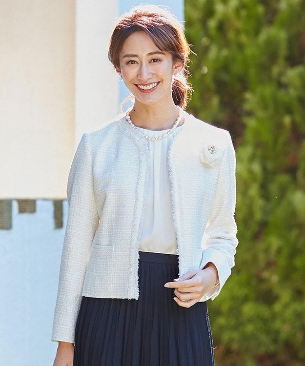 23区 【セットアップ対応】ブライトシャインツィード ノーカラージャケット