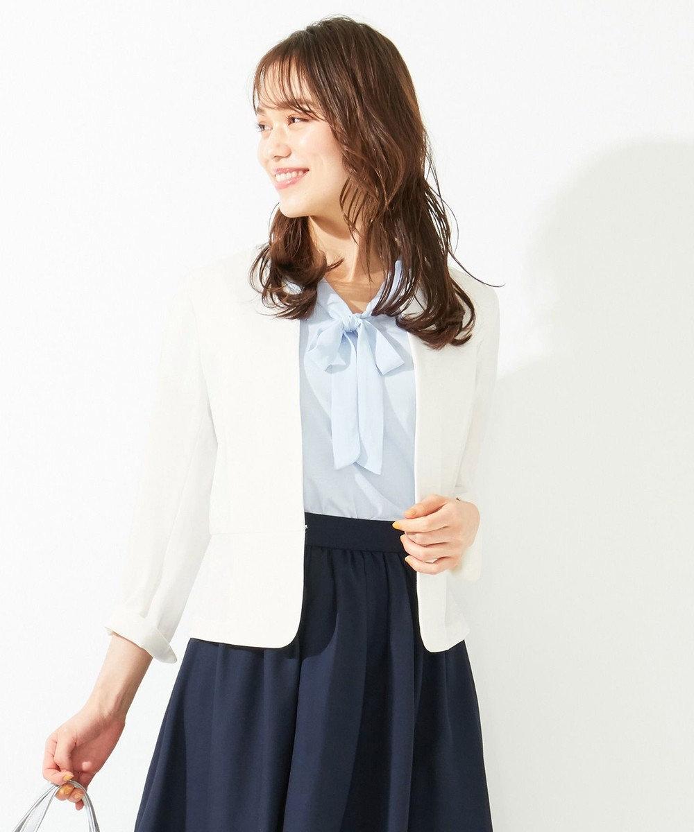 any SiS 【洗える】ノーカラーライト ジャケット オフホワイト