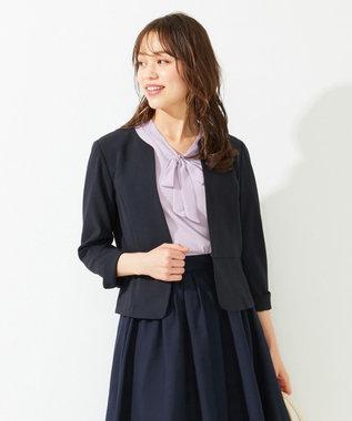 any SiS 【洗える】ノーカラーライト ジャケット ネイビー