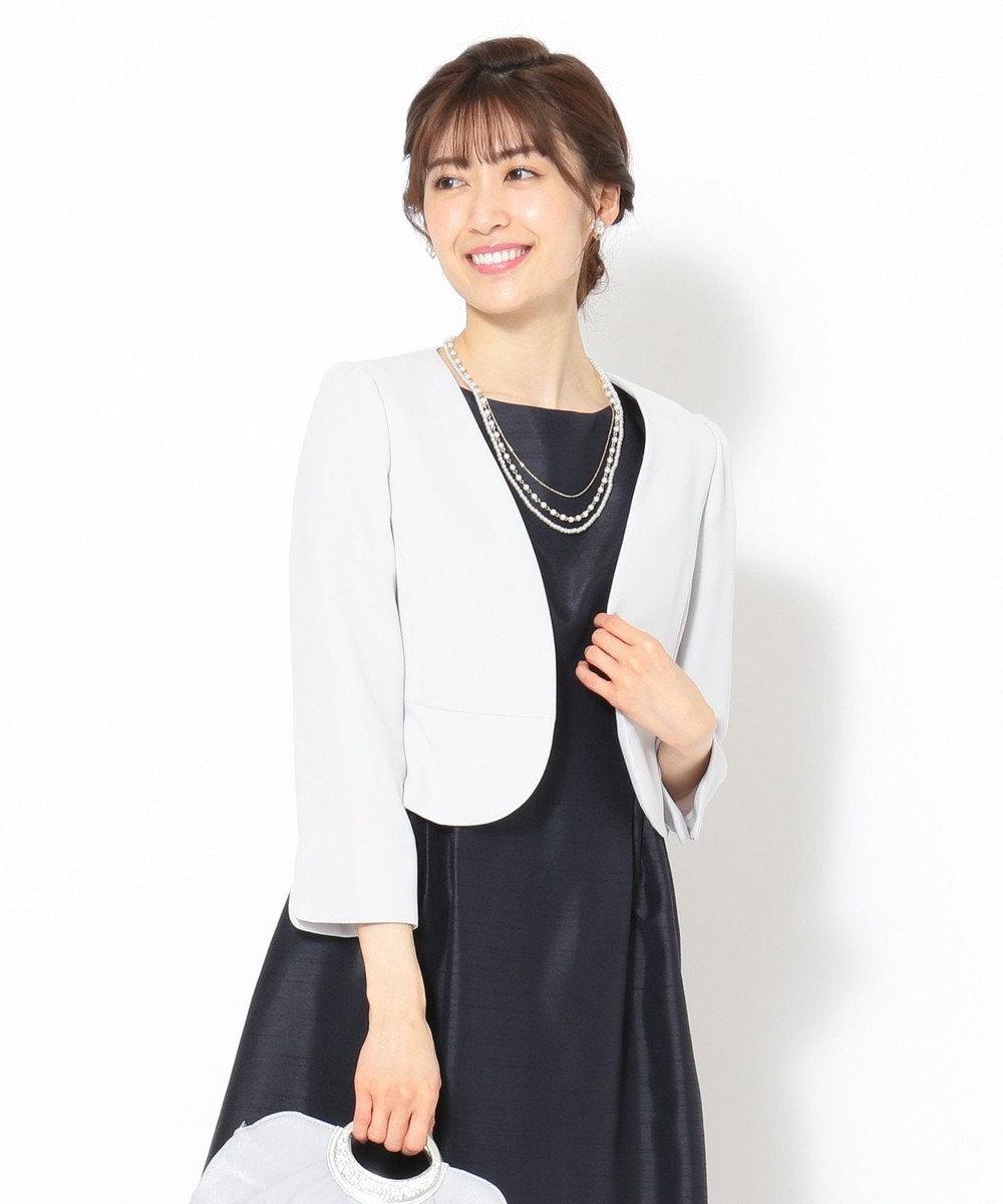 any SiS 【洗える】ノーカラーボレロ ジャケット シルバーグレー