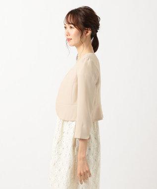 any SiS 【洗える】ノーカラーボレロ ジャケット シャンパン