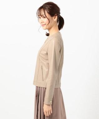 any SiS L 【本革】ノーカラーラムレザー ジャケット ベージュ