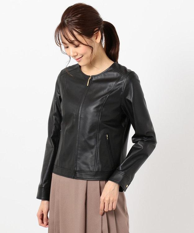 any SiS L 【本革】ノーカラーラムレザー ジャケット